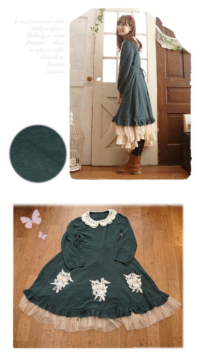 Taille De Fg053 Douce Vert Style La Côté Lolita Cosplay Jours Le Longue Moyenne Princesse Feuille Lotus rouge Robe Femmes Forêt Y7b6gvfy