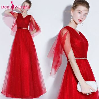 Beauty Emily Fashion Simple Long Red Blue Evening Dresses 2018 A-Line V-neck Short Sleeve Formal Party Girl Women Prom Dresses