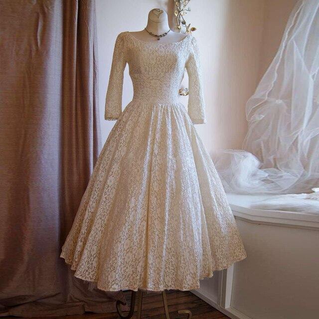 Pretty Lace Tea Length Wedding Dresses 1950 \'s Retro Wedding Dress ...