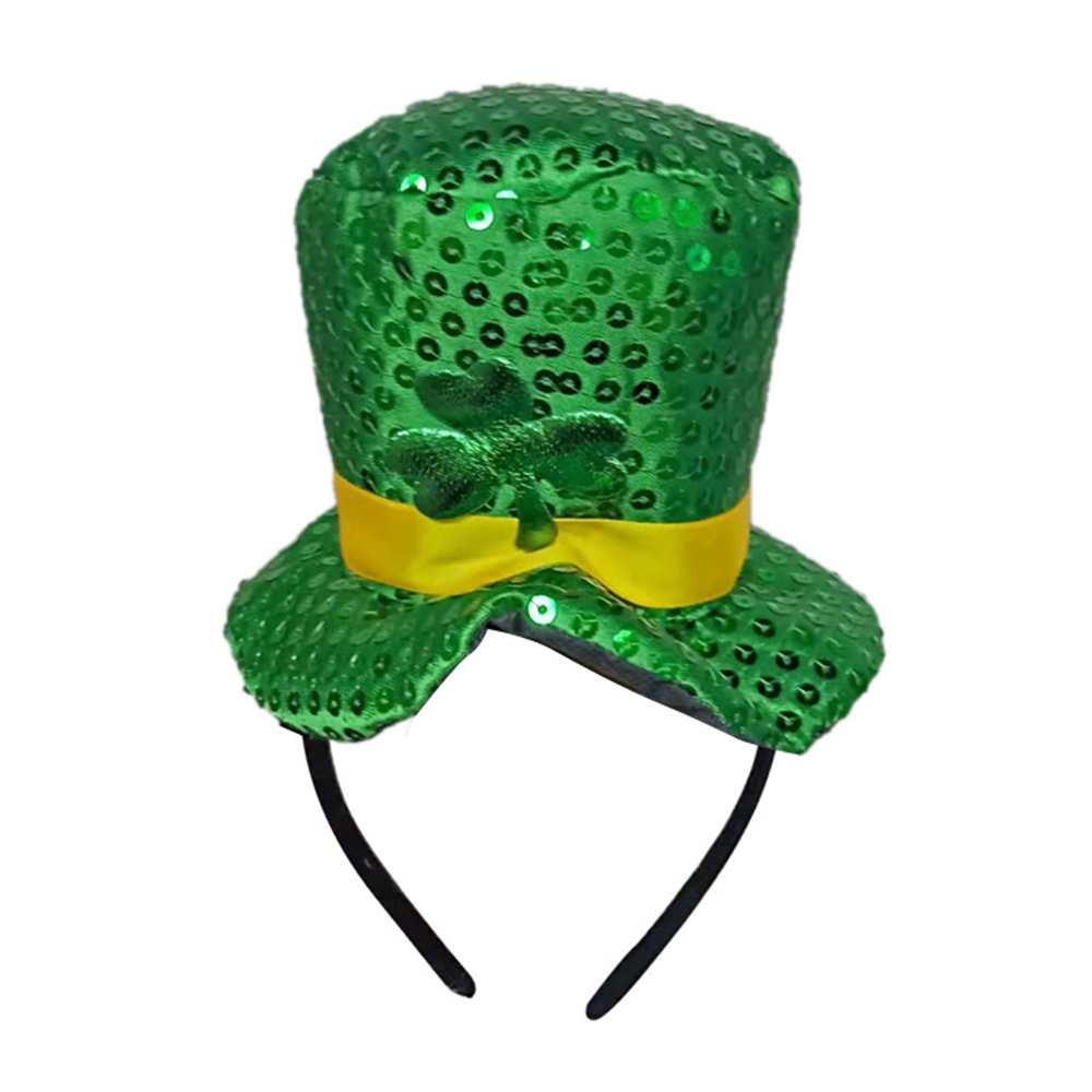 2019 Green Headband Green Leprechaun Top Sequin Shamrock Hat Hair ... d7503707b9e8