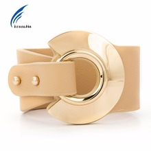 Transna Big Leather Bracelet Gold Color Metal Office Women All-Match Wide Leather Bracelets For Women Wristband Adjustable Size