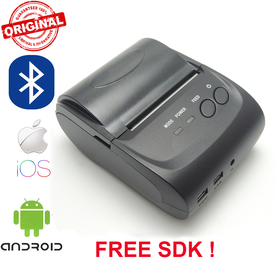 "Zjiang ממוצע 58 מ""מ כף יד קופה אנדרואיד iOS Bluetooth מיני מדפסות אלחוטי קבלת מכונה"