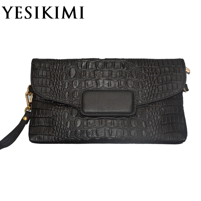 2017 Women Leather Bag Crocodile Soft Cow Leather Handbag Envelope Purse Black Clutches Alligator Cheap Bags For Women Bolsos