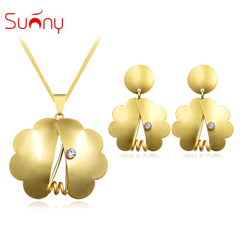 Sunny Jewelry Fashion Jewelry 2017 Women Earrings Pendant Necklace Sets Matte Gold Plated Flower Zircon For