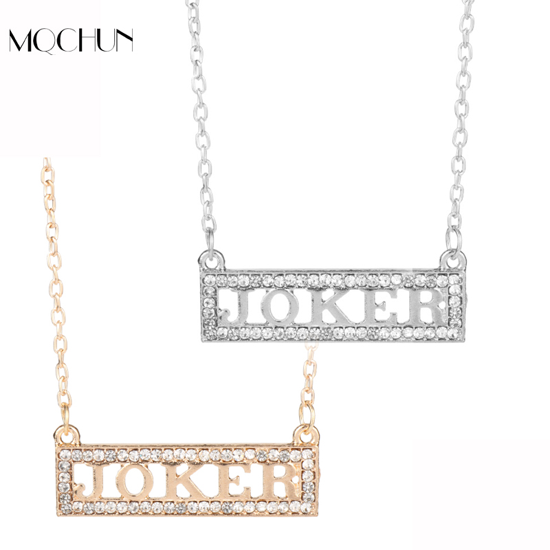 MQCHUN Jewelry Joker Suicide squads Harley Quinn Necklaces Cyrstal Pendant Necklace Cosplay Birthday Women Girls Christmas Gift