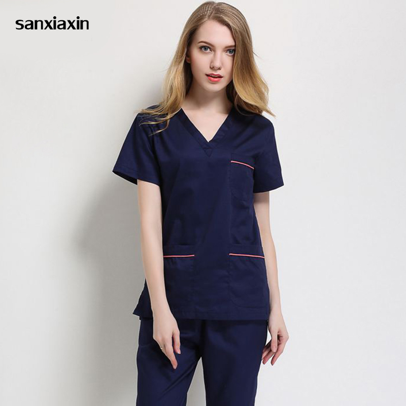 Sanxiaxin New Surgical Gown New Fashion V-neck Men And Women Doctors Nurses Uniforms Beauty Salons Dental Clinic Overalls Suits