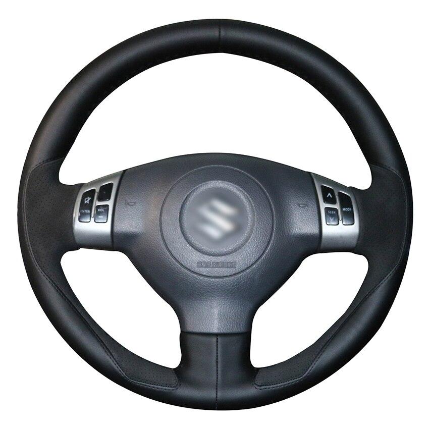 Hand stitched Black Leather Suede Anti slip Car Steering Wheel Cover for Suzuki Swift Sport 2005 2011 Splash 2007 2015 Opel