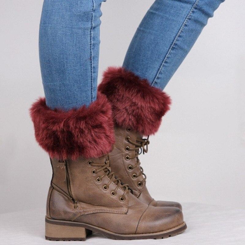 1 Pair High Quality  New Women Winter Leg Warmers Lady Crochet Knit Fur Trim Leg Boot Socks Toppers Cuffs