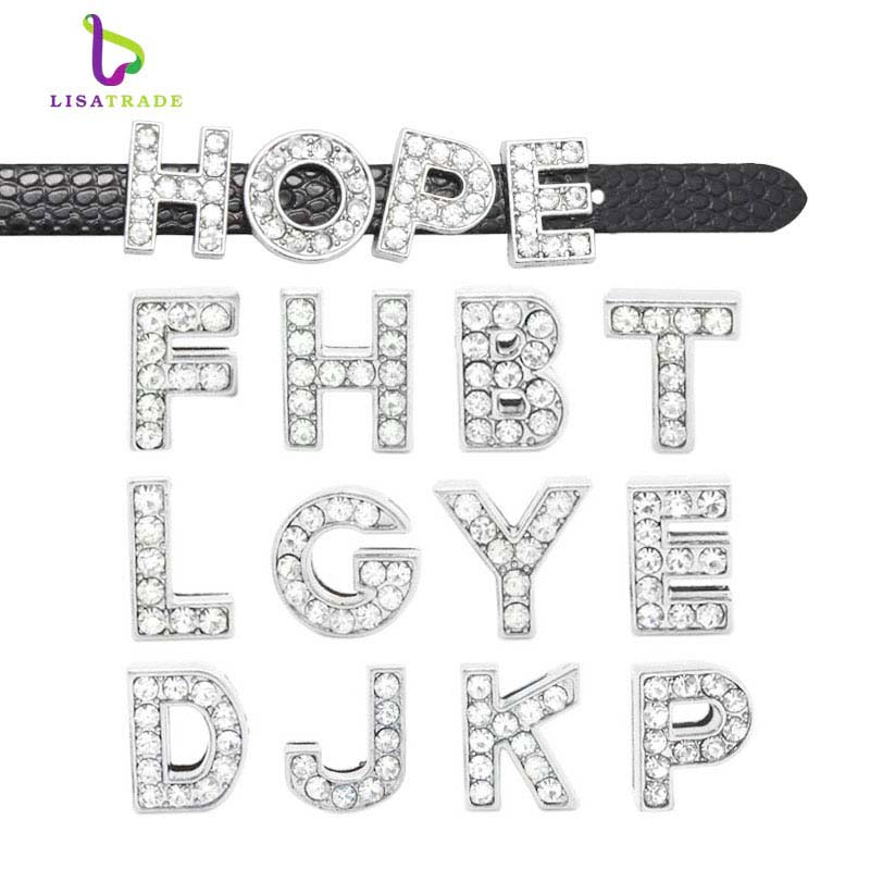 20pcs 8MM Full Rhinestone Slide Letters A-Z Can Choose Each Letters Slide Charms Fit 8mm DIY Leather Wristband & Bracelet LSSL01