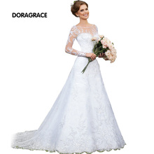 Romantic Long Sleeve Lace Wedding Dresses Applique Button Back A Line Gowns Bridal Dress DG0001
