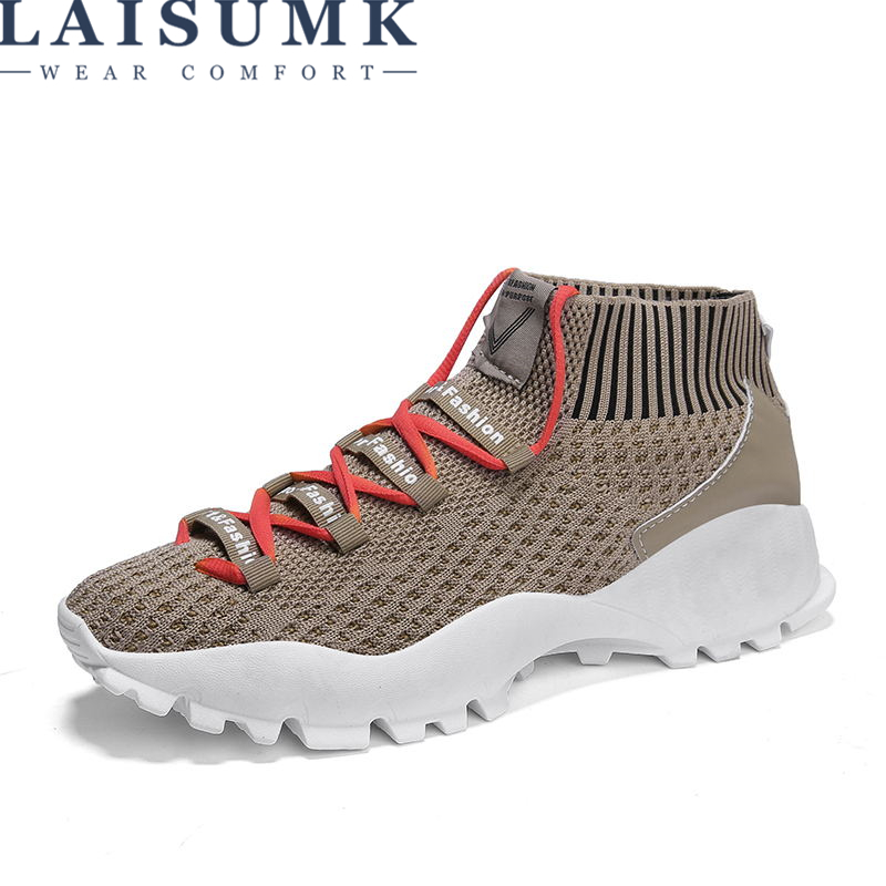 2019 LAISUMK Plus Size Eur 39-44 Fashion Men Casual Shoes Summer Lightweight Breathable Mesh Men Shoes Men Sneakers