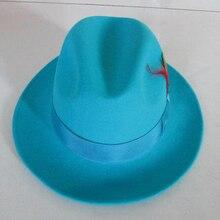 Мужская мода Fedoras Шерстяная кепка мужская Голубое озеро Джаз Шерстяная кепка Классический светильник синяя Фетровая Шляпа Fedora Шляпа крестного отца ковбойская Кепка B-8119