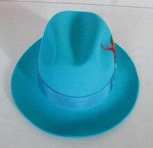 Moda uomo Fedora Berretto Di Lana Maschile Lago Blu Jazz Berretto di Lana  Luce Blu classico Cappello di Feltro Fedora Padrino Ca. 2a4d1a9a150d