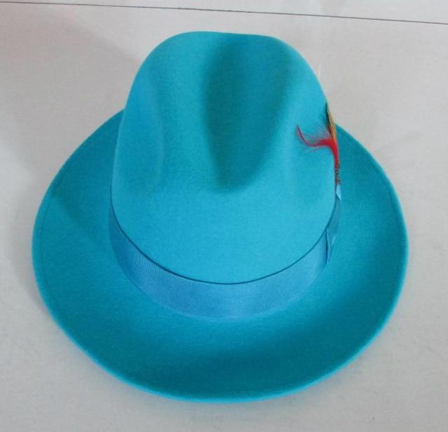 0686814d9f7 Men s Fashion Fedoras Wool Cap Male Lake Blue Jazz Wool Cap Classic Light  Blue Felt Fedora Hat Godfather Hat Cowboy Cap B-8119