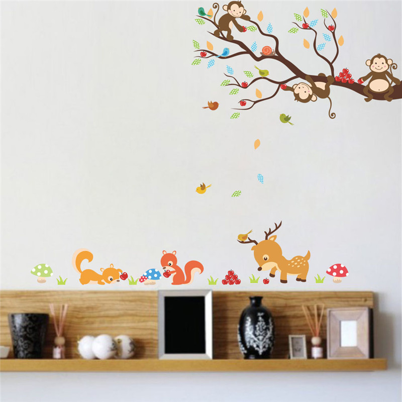 cartoon forest tree animal monkey deer squirrel wall stickers for kids  rooms children bedroom wall decal home decor mural