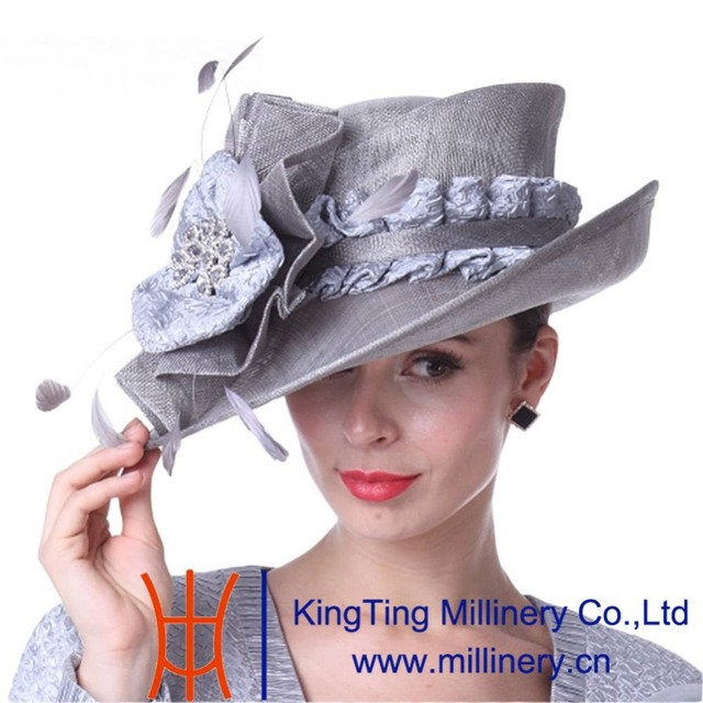 Kueeni Women Hats Beautiful For Wedding Mother Of Bride Silver Color Diamond Casing Feather Decorate