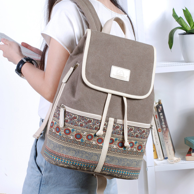 Canvasartisan Top Quality Canvas Women Backpack Casual College Bookbag Female Retro Stylish Daily Travel Laptop Backpacks Bag 5