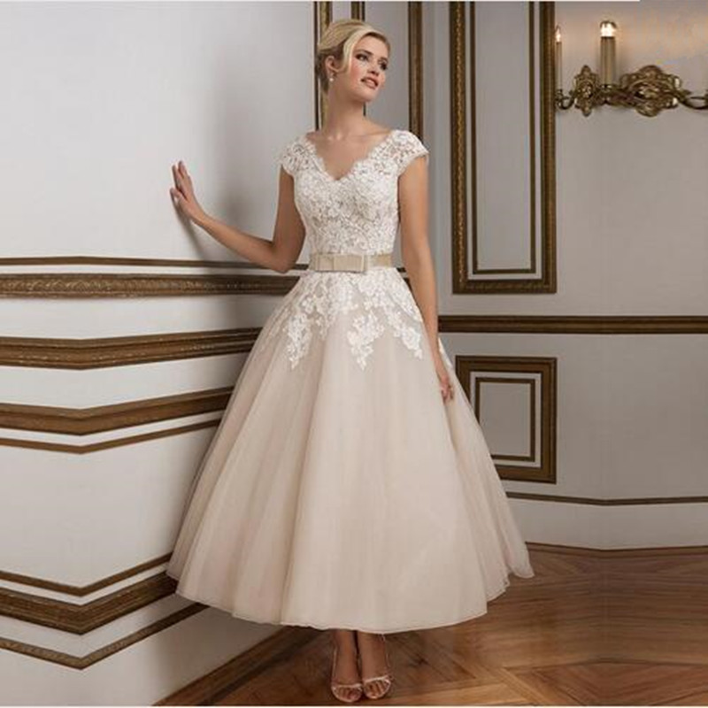 2016 champagne tea length wedding dresses elegant v neck for Champagne tea length wedding dresses