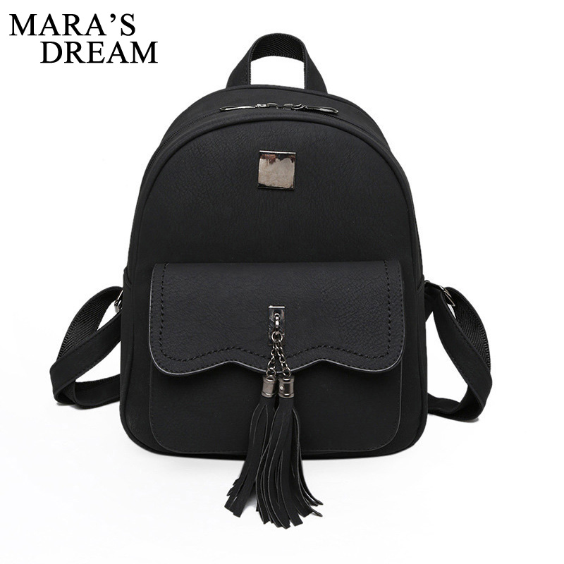 Mara s Dream 2017 Tassel Women Leather Solid Color Zipper Backpack Teenage Backpacks For Girls Vintage