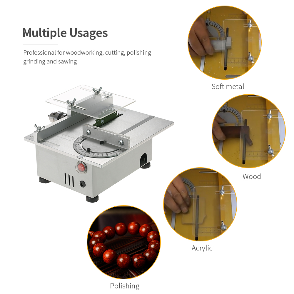 100W Mini Table Saw Aluminum Miniature Woodworking Bench Saw 7000RPM PCB Cutter Carpentry Chainsaw Cutting  DC 12-24V US Plug mini table saw multi function woodworking saw circular saw diy cutting machine for wood pcb