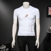 Quality Men T Shirt 2018 Summer Slim Fit Bird Embroidery Mens Social T Shirts Short Sleeve