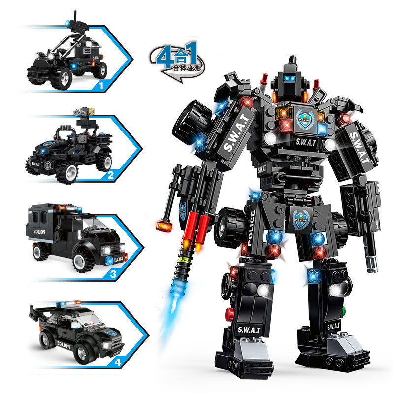 590pcs 4in1 Children s educational building blocks toys Compatible city SWAT Team Dragon Warrior Mech Toy