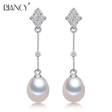 Fashion Pearl earrings Jewelry Natural freshwater 8-9mm for Women 925 sterling silver pearl