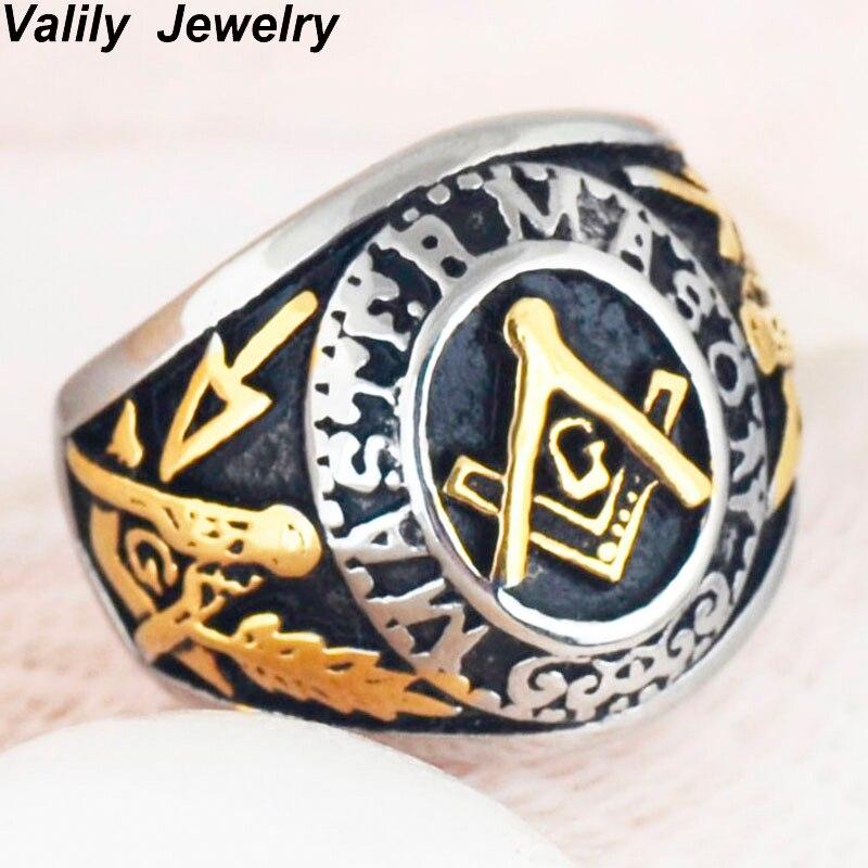 Aukso spalvos koledžo stiliaus laisvalaikio žiedo masonų žiedai vyrams, nerūdijančio plieno vestuvių papuošalų žiedas