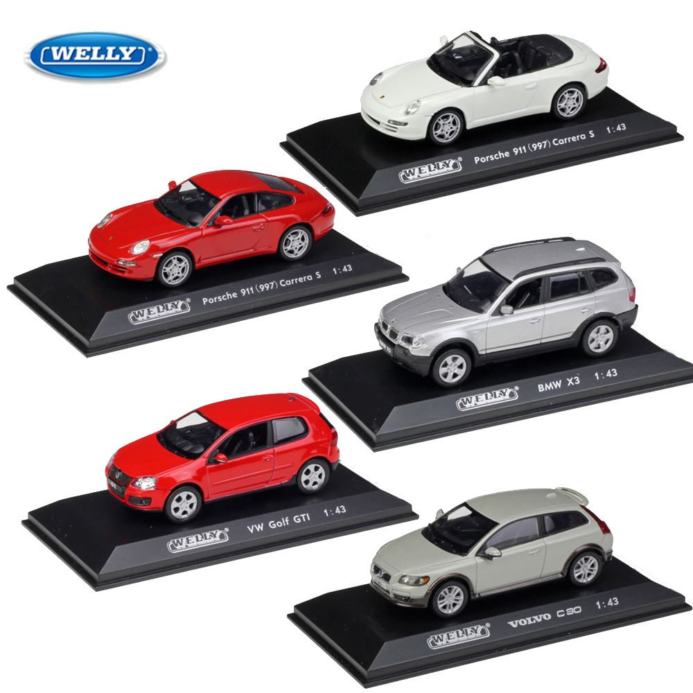 WELLY <font><b>1</b></font>:<font><b>43</b></font> Scale Metal <font><b>Model</b></font> <font><b>Car</b></font> Diecast Toy <font><b>Model</b></font> <font><b>Volvo</b></font>/Porsch/Audi/Benz/VW Boy Toy Collection Gift For Children image