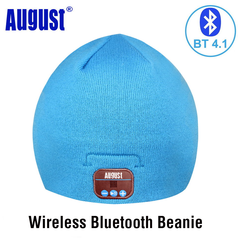 August EPA20 Bluetooth Cap Winter Beanie Hat with Bluetooth Stereo Headphones, Speaker and Microphone for Mobile Phones,Laptops gift children knitting wool hat cute keep warm rabbit beanie cap autumn and winter hat with earflaps whcn