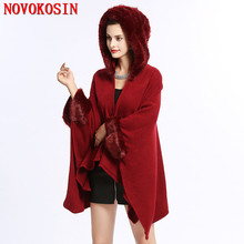 SC224 2018 Fashion Women Winter Patchwork Fur Collar Poncho Faux Cashmere Long Sleeve Cardigan Thick Warm Cloak Coat With Hat