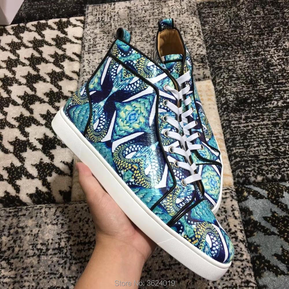 293cd6b1ebca Luxury clandgz Blue Snake texture Lace up high heel shoes Men Fashion Party  Red bottom shoes Sneakers leather casual 2018-in Men s Casual Shoes from  Shoes ...