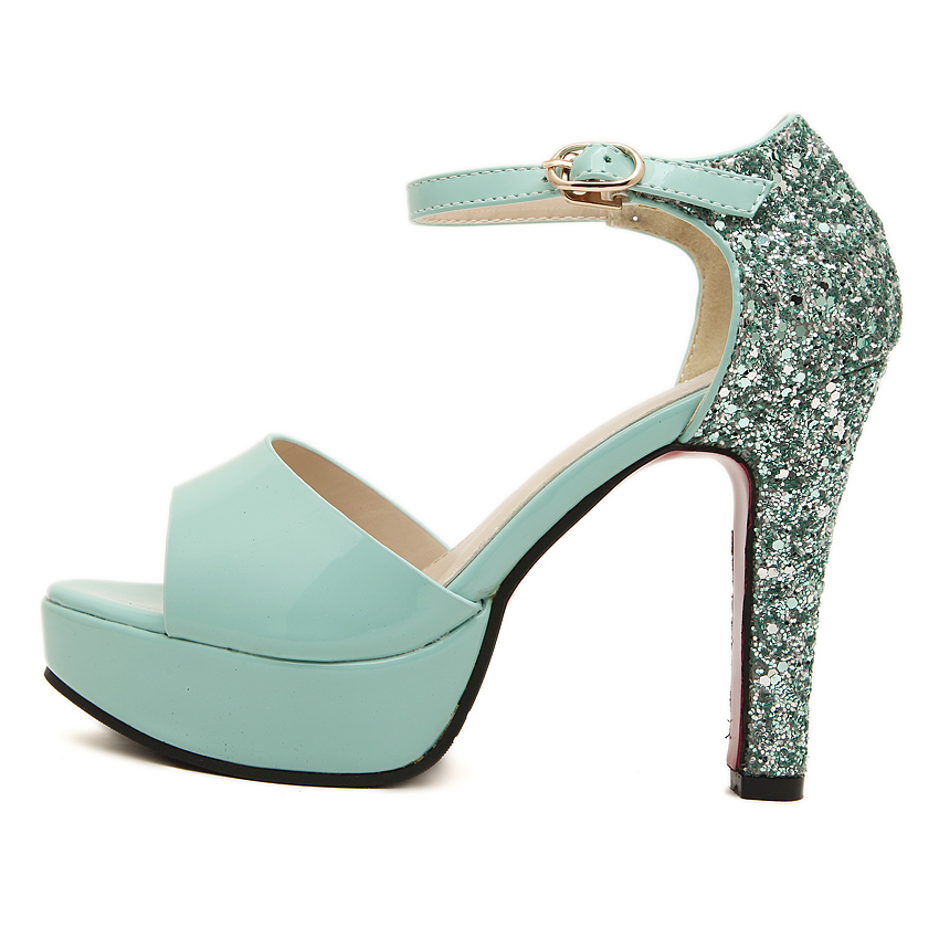 864d538d80c Glitter high heels mint green heel shoes women open toe ankle strap platform  sandals sexy fashion summer pumps ladies shoes 2014-in Women s Pumps from  Shoes ...