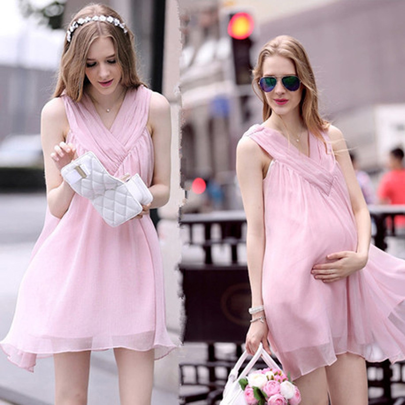 Maternity clothes new summer sleeveless V neck chiffon solid above knee, mini A-Line Cute dress Pregnancy Plus Size Dresses