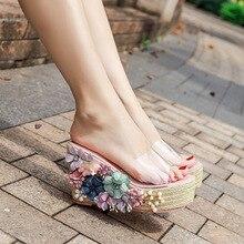 sunny everest 2019 Summer new women shoes slides transparent slope cold slippers fashion flowers high heel female