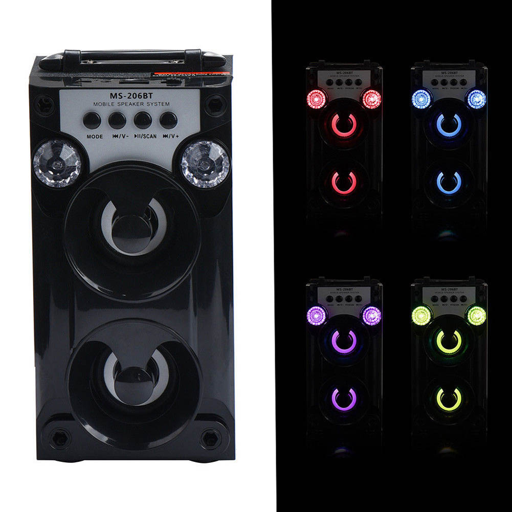 New Bluetooth Wireless LED USB Super Bass Speaker AUX TF FM Radio Portable Outdoor Speakers @JH exrizu ms 136bt portable wireless bluetooth speakers 15w outdoor led light speaker subwoofer super bass music boombox tf radio