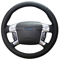 XuJi Black Genuine Leather Car Steering Wheel Cover for Ford Mondeo Mk4 2007-2012