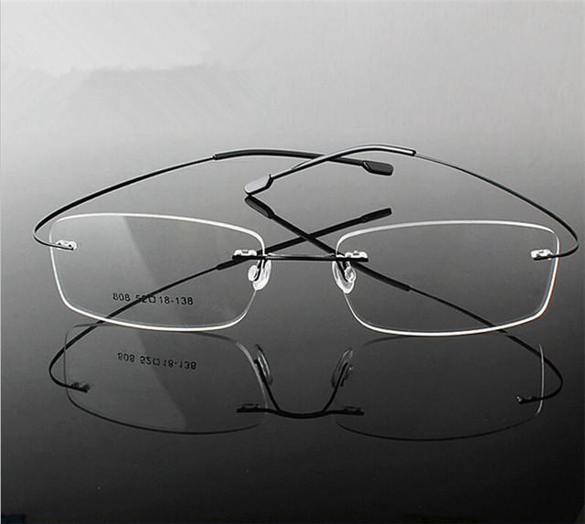 Titanium eyewear armacao parágrafos frameless titanium óculos frame ótico oculos de grau óculos frames para homens e mulheres