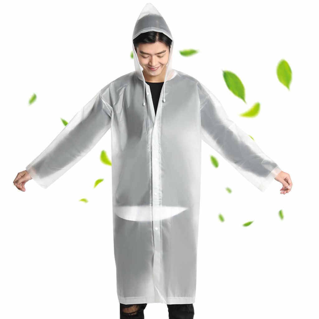 المحمولة طويلة معطف واق من المطر المرأة رجل معطف واقي من المطر شفافة هوديي مقاوم للماء الكبار غير القابل للتصرف في الهواء الطلق مكافحة الرطب واضح ملابس ضد المطر