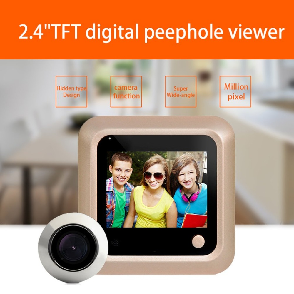 X5 Electronic Cat Eye Camera 2.4 Inch TFT Color Screen Display Home Smart Doorbell Security Door Peephole