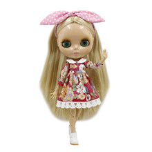 blyth doll 260BL538 Golden straight Hair tan skin without bang joint body 1/6 BJD dolls toy gift(China)