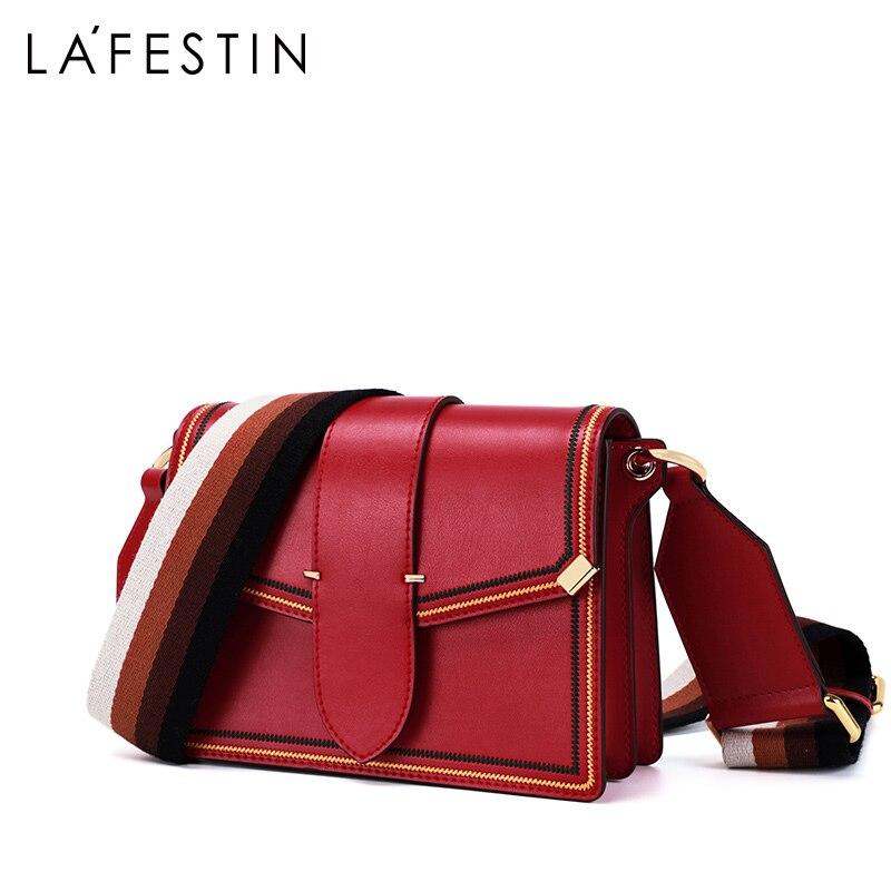 LA FESTIN merk vrouwen tas 2019 zomer nieuwe Brede schouderriem dames tas temperament schoudertassen mode Messenger bags-in Schoudertassen van Bagage & Tassen op  Groep 3