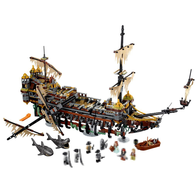 Lepin 16042 2344pcs Pirates of The Caribbean Movie Captain Jack Silent Mary Building Block Bricks Model toys for children 71042 trendy movie silent night jack skull keyring
