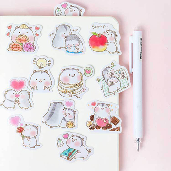 45PCS/PACK Kawaii Cute Hamster Love Sticker Marker Planner Diary DIY Decorate School Stickers Scrapbooking Bullet Journal sl1721 custom logo vintage scrapbook journaling stickers cute aesthetic kawaii bullet journal diary decoration planner sticker flakes