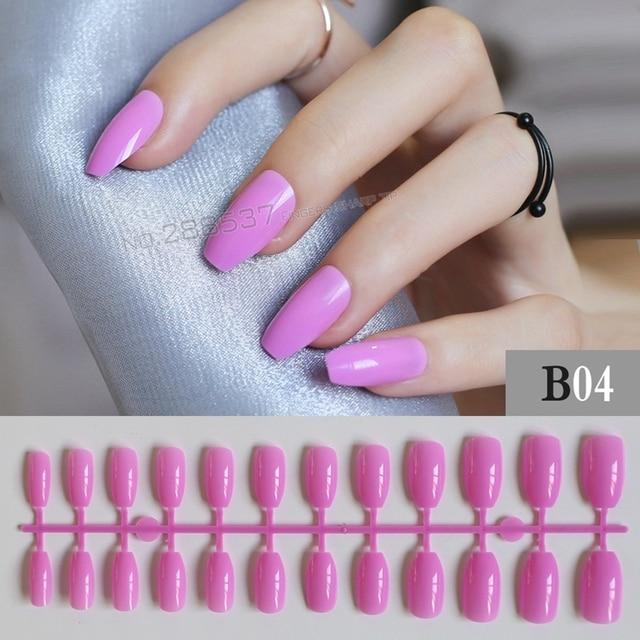 New Coffin False nails fashion purple personality Designs 24pcs Full ...