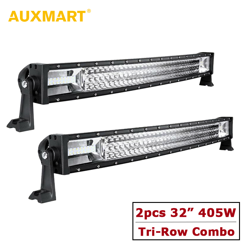 AUXMART Curved 32 405W LED Light Bar Offroad Combo 3-Row Led Bar for Camper Trailer 4x4 4WD SUV PickUp 12V 24V Driving Lights стоимость