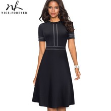 Nice-forever Vintage Retro Lace Patchwork O Neck Female vestidos Business Office Party Flare A-Line Women Dress A140