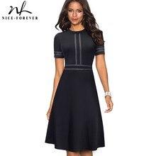 Nice forever vintage retro rendas retalhos o pescoço feminino vestidos de negócios escritório festa alargamento a linha vestido feminino a140