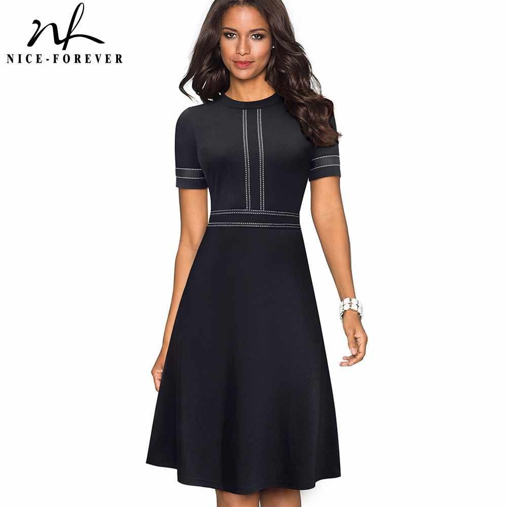 Nice-forever Винтаж в стиле ретро с кружевом в стиле пэчворк с круглым вырезом; vestidos Бизнес офисные вечерние расклешенное ТРАПЕЦИЕВИДНОЕ женское платье A140