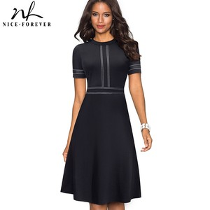 Image 1 - נחמד לנצח בציר רטרו תחרה טלאים O צוואר נקבה vestidos עסקי משרד מפלגה אבוקה אונליין נשים שמלת A140